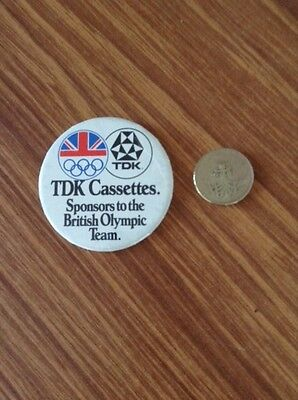 TDK Cassettes Sponsors to the British Olympic Team Pin Badge
