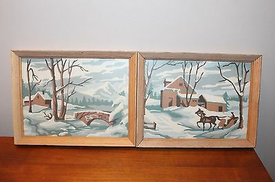 Vintage Paint By Number PBN Two Paintings Winter Landscape Scene with Frames