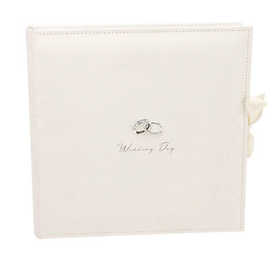 Beautiful Amore Ivory Suede Wedding Photo Album. Large 25 Page Collage Pictures
