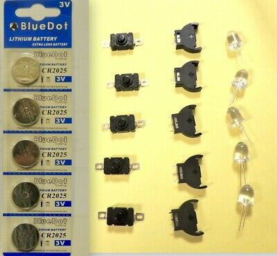 Kit Of 20 Pcs.(Coin Cell Holder/lithium Battery Cr2032/switches/led Lights )New!