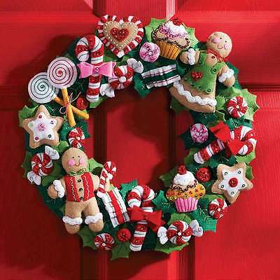 Cookies & Candy Wreath Felt Applique Kit-15 Inch X 15 Inch 046109862644