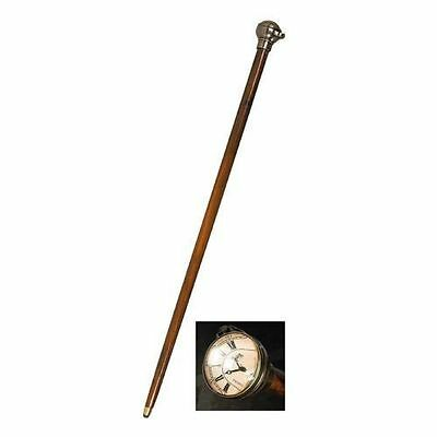 Men's Victorian Time Companion Wood Walking Stick Cane W/clock Authentic Models
