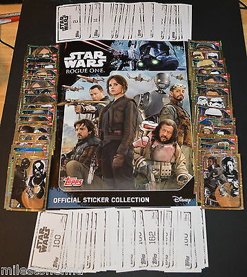 Topps Star Wars Rogue One FULL MASTER SET 200 Stickers + Empty Album Book