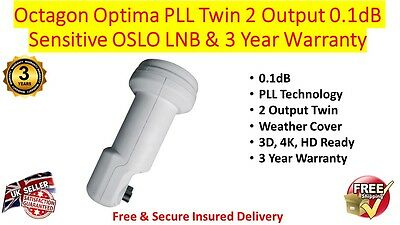 Octagon Optima Twin Slim OSLO 0.1dB LNB Sensitive PLL Technology 3 Year Warranty