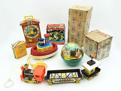 Vintage Fisher Price lot Music Teaching Clock Radio Chug Chug Train Tuggy Tooter