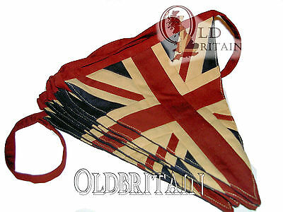 Vintage Union Jack Bunting | 4 Meters Cotton with 9 Super Quality Sewn Flags