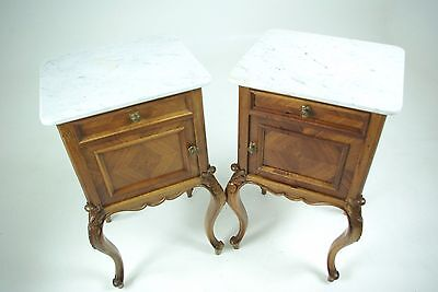B612 Pair Antique French Marble Top Louis 15th Nightstands, Bedside Tables