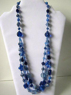 Vintage Multi-Blue Three Layer Bead Necklace
