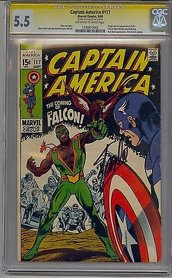 Captain America #117 Cgc 5.5 Ss Ow/w Pages 1St Falcon Signed Stan Lee