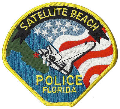 "Satellite Beach Police Florida Shoulder Patch - 4"" tall by 4 3/8"" wide - NEW"