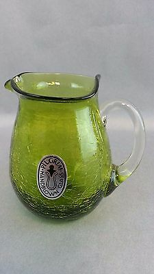 Vintage Pilgrim Glass Olive Green Crackle Glass Small Pitcher Handblown 1960's