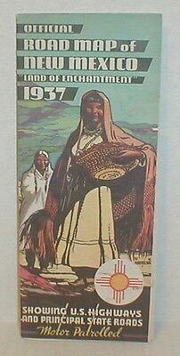 vtg 1937 Official Road Map of NEW MEXICO beautiful condition crisp & FREE SHIP