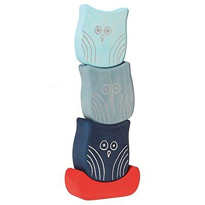 Grimm's Balancing Owls - Wooden Baby Blocks for Stacking, Building & Creative