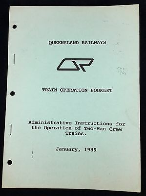 Qr Queensland Railway Vintage 1989 Train Operation Instructions Book Qld Rail