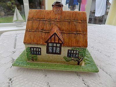 Vintage Beswick Ware 250 Covered Cheese Dish Thatched Cottage