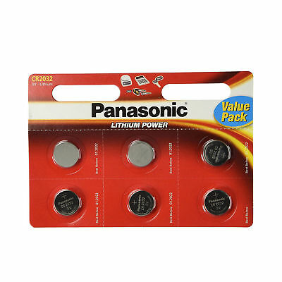 6 x Panasonic CR2032 3V Lithium Coin Cell Battery 2032 Batteries Brand new stock