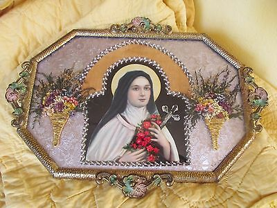 Antique Vtg Religious Picture St.Therese of Lisieux Convex Glass Rosary Metal