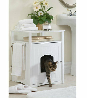 Cat Litter Box Furniture Kitty White Covered Enclosed Hidden Bathroom House NEW