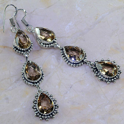 """Stunning Genuine Flawless Faceted Smoky Topaz Quartz 925 Silver Earrings 3 1/4"""""""