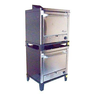 Peerless Ovens C231P Double Stack Gas Pizza Oven Stainless Steel Front