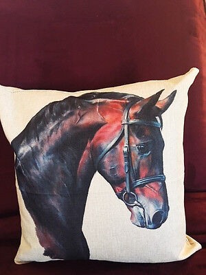 GORGEOUS High End Cotton Linen Classy Warmblood Horse Throw Pillow!