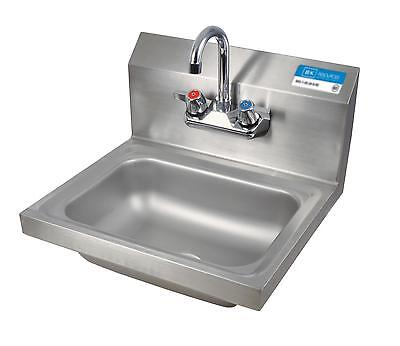 "BK Resources Wall Mount S/s Hand Sink 14""x10""x5"" Bowl w/ Drain & Faucet"