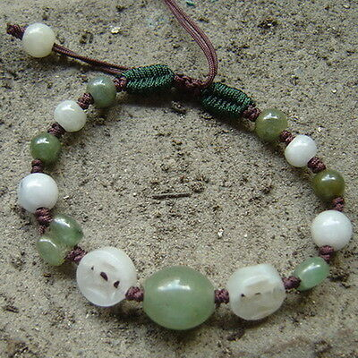 Natural Oval Jadeite Beads With Anceint Coins & Beads Unique Designed Bracelet