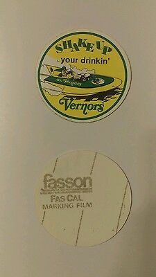 "2-NOS VERNOR'S FASCAL DECAL DRAG BOAT  Detroit 2.5"" inch SHAKE UP YOUR DRINKIN'"