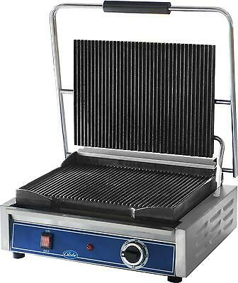 "Globe GPG1410 14"" x 10"" Panini Grill With Grooved Plates - Stainless Steel"