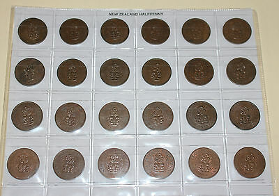New Zealand Complete Halfpenny Date Set 1940 to 1965 FINE to aUNC (24 Coins)