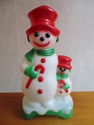 """12"""" Double Sided Snowman and Child Blow Mold Christmas Light Empire Carolina"""