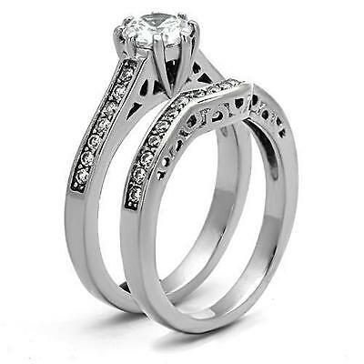 Silver Stainless Steel Simulated Diamond Wedding 2 Ring Set Size 9 10 11 / R T V