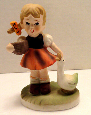 Vintage Little Girl With Duck Figurine Collectors Choice Series Flambro