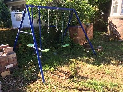 kids metal 2-station swing set