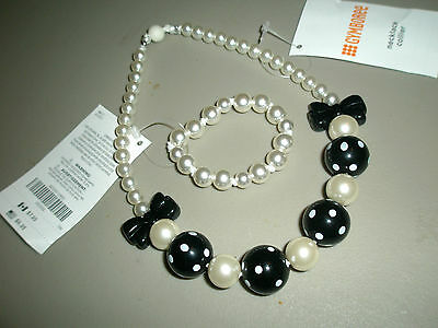 Gymboree Girls Black & White Pearl Beads Necklace & Bracelet from 2015 NWT