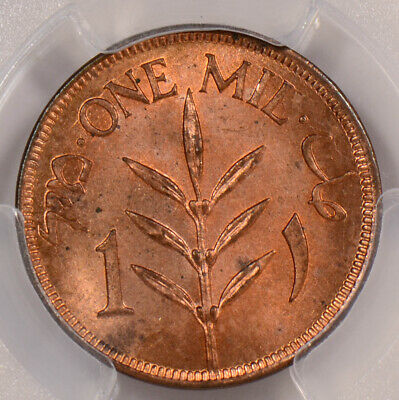 PC0084 Palestine 1927  Mil PCGS MS 64 Red rare in red! combine shipping