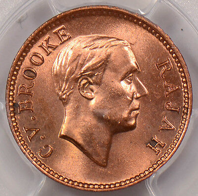 PC0083 Sarawak 1933 H 1/2 Cent PCGS MS 64 Red Prid-61 rare in red!