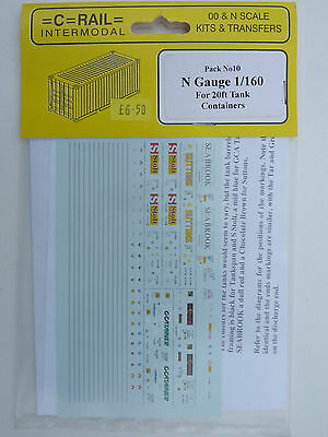 =C-Rail= Pack 10 - N Gauge 1/160 Transfers for 20' Containers.