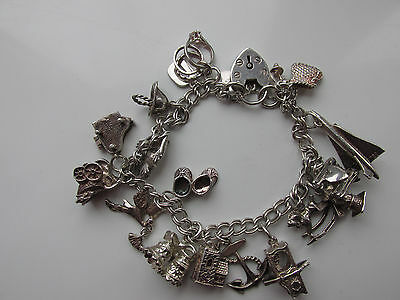 Vintage Sterling Silver Charm Bracelet 42 Grams 18 Charms Heart Lock