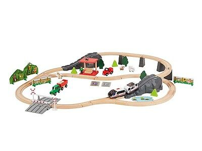 Battery Operated Wooden Train Set 80 Piece (track length Approx 4.2 m)