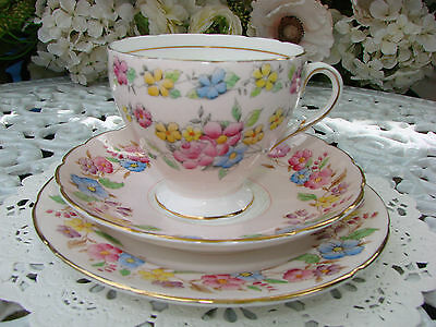 Foley E Brain English Bone China Trio (Cup, Saucer, Plate) - Pink Floral