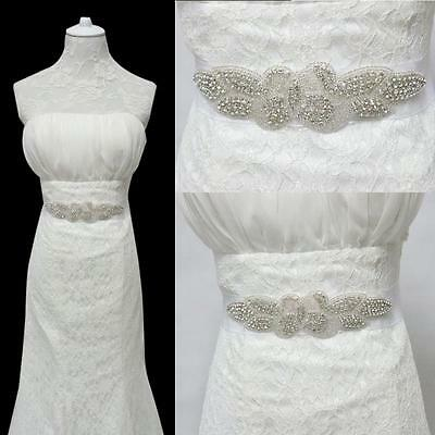Wedding Party Dress Gown SASH Crystal Beaded Butterfly Applique Waist Belt
