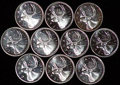 LOT of 10 80% Silver Candian Quarters