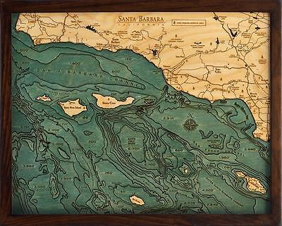 "SANTA BARBARA, CA  16"" x 20"" New, Laser-Cut 3-Dimen Wood Chart/Lake Art Map"