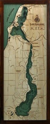 "LAKE LEELANAU, MI 13.5"" x 31"" New, Laser-Cut 3-Dimen Wood Chart / Lake Art Map"