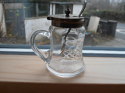 Vintage Glass condiment pot with handle & silver plated lid & spoon