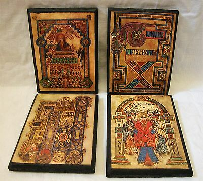 Vintage Set of 4  Book of Kells Wooden Wall Plaques - Made in Ireland