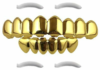 24K Gold Plated Grillz 8 Tooth Top Bottom Mouth Hip Hop Teeth Grills + 2 Extr...