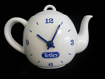 Vintage Tetley Tea Teapot Shaped Wall Clock Kitchen Battery Operated WORKS
