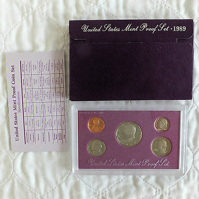 USA 1989 s 5 COIN PROOF YEAR SET - sealed with outer and coa